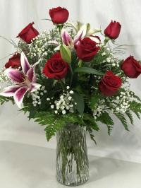 9 roses and 2 lilies